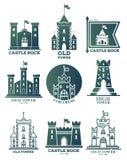 Logo avec le château et les tours aux drapeaux Couche des bras Images libres de droits