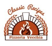 Logo avec le four et la pizza de bois de chauffage Photographie stock
