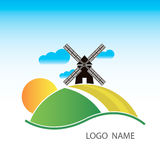 Logo avec un moulin Photos stock