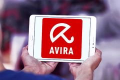 Avira Operations company logo. Logo of Avira Operations company on samsung tablet . Avira is a German multinational security software company that provides Stock Photo