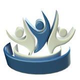 Logo błękitna szczęśliwa praca zespołowa 3D ilustracji