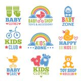 Logo for babies. A set of logos with accessories for babies Royalty Free Stock Images