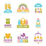 Logo for babies. A set of logos with accessories for babies Royalty Free Stock Photo