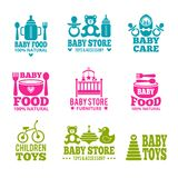 Logo for babies. A set of logos with accessories for babies Royalty Free Stock Image