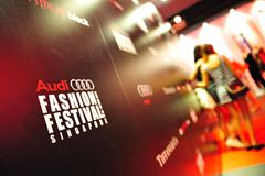 Logo and backdrop of Audi Fashion Festival 2011 Erdem Show Stock Photography