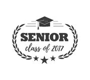 Logo badge for graduating senior class 2017, in black isolated white background, design for the graduation party for. Collection of logo badges and cute funny Royalty Free Stock Image