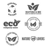 Logo, badge, label, logotype elements with leafs Royalty Free Stock Image