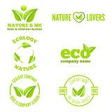 Logo, badge, label, logotype elements with leafs Stock Photo