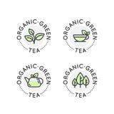 Logo Badge Set für organische grüner Tee Produktion oder Shop für gesunden Lebensstil vektor abbildung