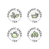 Logo Badge Set for Organic Green tea Production or Shop for Healthy Lifestyle Royalty Free Stock Photo