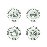 Logo Badge Set for Organic Green tea Production or Shop for Healthy Lifestyle Stock Images