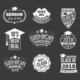 Logo badges and cute funny labels for graduating senior class 2018. Collection of logo badges and cute funny labels for graduating senior class 2018, in white Royalty Free Stock Images