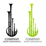Logo with Bagpipes in flat Black and Green colors. Style Design for Modern organisations and publications about Traditional Celtic Music Royalty Free Stock Photos