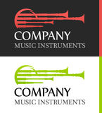 Logo with Bagpipes in flat Red and Green colors. Modern Logos with Bagpipes in flat Red and Green colors. Emblem for organisations and publications about Stock Photography