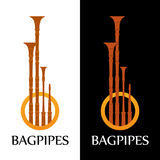 Logo with Bagpipes on white and black. Background in style design Stock Photography