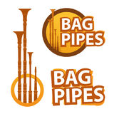 Logo with Bagpipes on white and black. Background in style design Royalty Free Stock Images