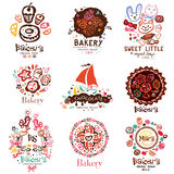 Logo of the bakery, symbols. Illustration of a confectionery. Sweet cakes candy cakes design elements. Logo handmade on the topic of sweet dessert and cakes vector illustration