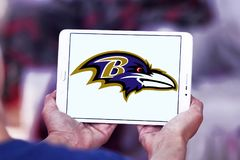 Baltimore Ravens american football team logo. Logo of Baltimore Ravens american football team on samsung tablet. The Baltimore Ravens are a professional American Stock Photos