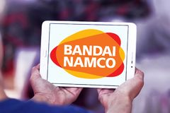 Bandai Namco Entertainment logo. Logo of Bandai Namco Entertainment company on samsúng tablet. Bandai Namco Entertainment Inc. BNEI is a Japanese video game Royalty Free Stock Photo