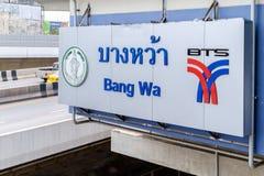 Logo of The Bangkok Mass Transit System (BTS) at Bang wa in Bang Stock Image