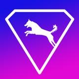 Logo Banner Image Jumping Dog in a Diamond Shape on Blue Purple  Background. Logo Banner Image Jumping Dog in a Diamond Shape on Blue Purple Gradient Background stock illustration