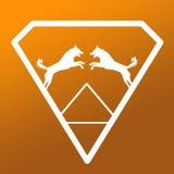 Logo Banner Image Jumping Dog Pair in a Diamond Shape on Khaki Brown  Background. Logo Banner Image Jumping Dog Pair in a Diamond Shape on Khaki Brown Gradient royalty free illustration