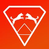 Logo Banner Image Jumping Dog Pair in a Diamond Shape on Red Orange  Background. Logo Banner Image Jumping Dog Pair in a Diamond Shape on Red Orange  Gradient vector illustration