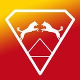 Logo Banner Image Jumping Dog Pair in a Diamond Shape on Yellow Orange  Background. Logo Banner Image Jumping Dog Pair in a Diamond Shape on Yellow Orange royalty free illustration