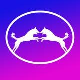 Logo Banner Image  Jumping Dog Pair  in Oval Shape on Blue Magenta  Background. Logo Banner Image Jumping Dog Pair in Oval Shape on Blue Magenta Background royalty free illustration