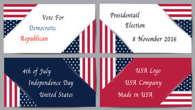 Logo Banner for Presidential election and Social issue in United States of America Stock Photography