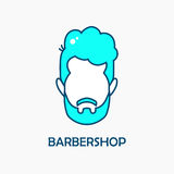 Logo barber.Head of a man with beard of mint color. Stock Images