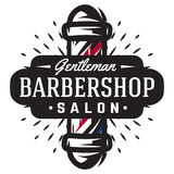 Logo for barbershop with barber pole in vintage style Stock Images