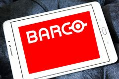 Barco manufacturer logo. Logo of Barco manufacturer on samsung tablet. Barco NV is a technology company that develops sight, sound, and sharing solutions to help Royalty Free Stock Photography