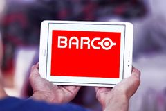 Barco manufacturer logo. Logo of Barco manufacturer on samsung tablet. Barco NV is a technology company that develops sight, sound, and sharing solutions to help Stock Images
