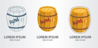 Logo barrel of rum. Contour logo, stroke logo royalty free illustration