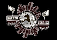 Logo basketball league. With urban elements and the silhouette basketball atmosphere on the background of a basketball ball. Vector illustration Stock Image