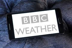BBC Weather logo. Logo of BBC Weather on samsung mobile. BBC Weather is the BBC`s department in charge of preparing and broadcasting weather forecasts, and is Royalty Free Stock Photography