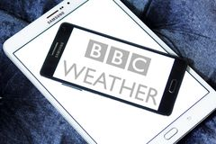 BBC Weather logo. Logo of BBC Weather on samsung mobile. BBC Weather is the BBC`s department in charge of preparing and broadcasting weather forecasts, and is Stock Image