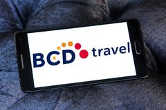 BCD Travel company logo. Logo of BCD Travel company on samsung mobile. BCD Travel is a provider of global corporate travel management stock photos