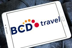 BCD Travel company logo. Logo of BCD Travel company on samsung tablet . BCD Travel is a provider of global corporate travel management stock photo