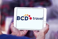 BCD Travel company logo. Logo of BCD Travel company on samsung tablet . BCD Travel is a provider of global corporate travel management royalty free stock photo