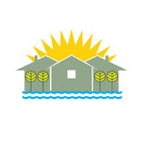 Logo Beach house. Illustration with sea and sunshine Royalty Free Stock Photos
