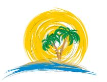 Logo a beach with palm trees. Stock Images