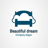Logo beautiful dream. Blue bed with the cloud on it Royalty Free Stock Images