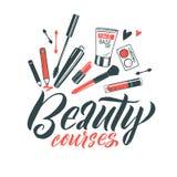 Logo Beauty Courses Vector Lettering Beställnings- handgjord kalligrafi vektorillustation royaltyfri illustrationer