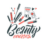 Logo Beauty Courses Vector Lettering Calligraphie faite main faite sur commande illustation de vecteur Photo libre de droits