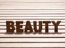 Logo beauty design. Wooden three-dimensional letters on a light background stock photo