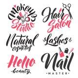 Logo Beauty Lettering Vettore fatto a mano su ordinazione di calligrafia Immagine Stock