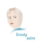 Logo for beauty salon. With blond girl. Stock vector illustration Royalty Free Stock Photos