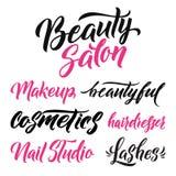 Logo Beauty Salon Lettering Calligrafia fatta a mano su ordinazione, vettore Fotografia Stock Libera da Diritti